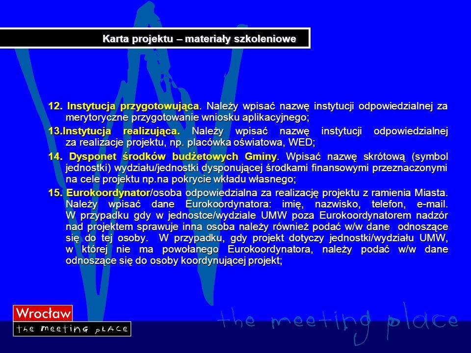 Karta projektu – materiały szkoleniowe 16.Menedżer projektu z BZFE.