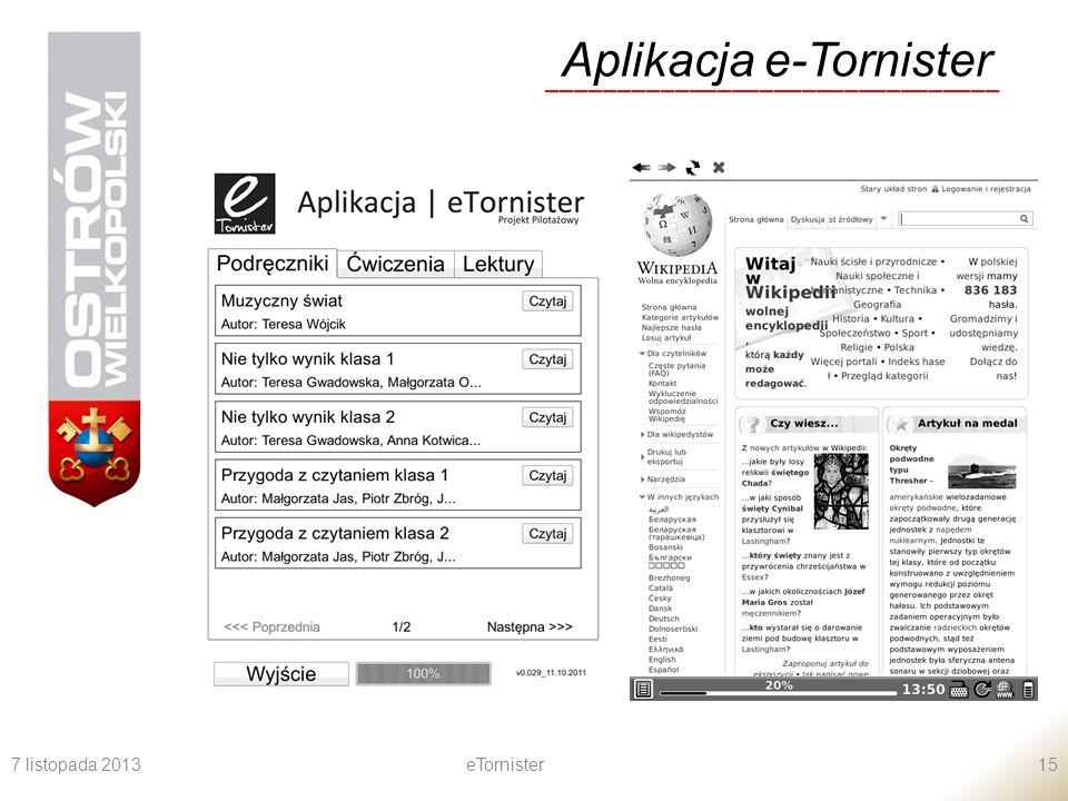 7 listopada 2013eTornister15 Aplikacja e-Tornister ________________________________
