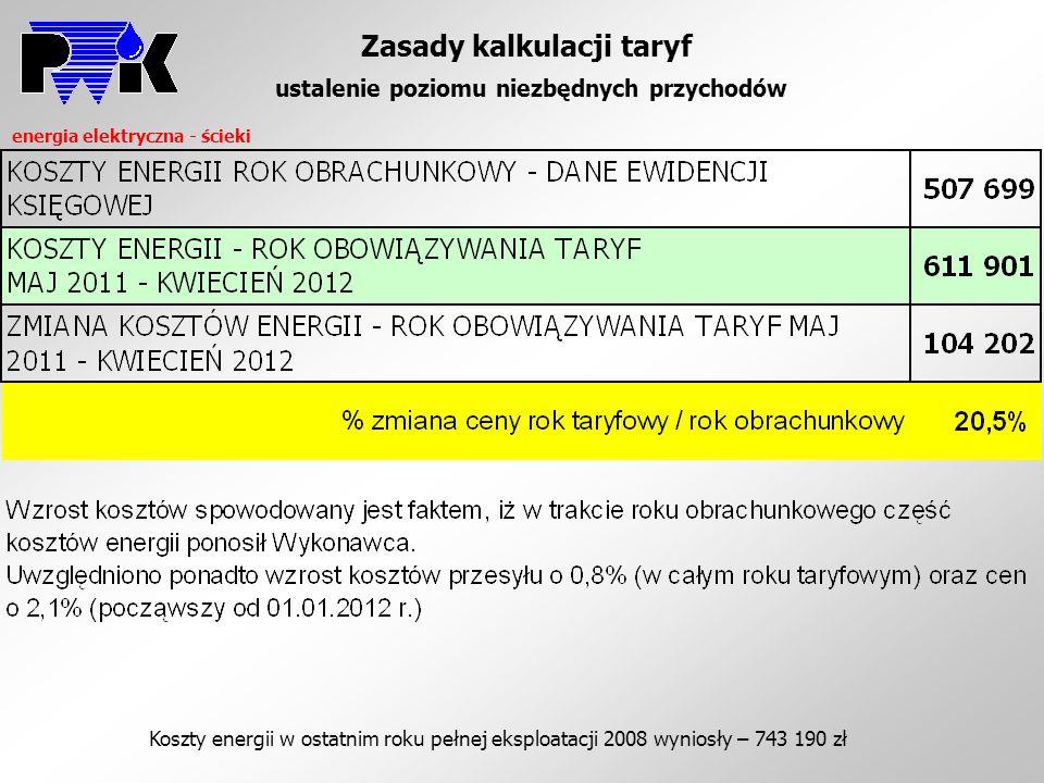 Zasady kalkulacji taryf ustalenie poziomu niezbędnych przychodów energia elektryczna - ścieki Koszty energii w ostatnim roku pełnej eksploatacji 2008