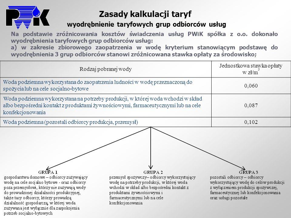 Zasady kalkulacji taryf wyodrębnienie taryfowych grup odbiorców usług Na podstawie zróżnicowania kosztów świadczenia usług PWiK spółka z o.o. dokonało