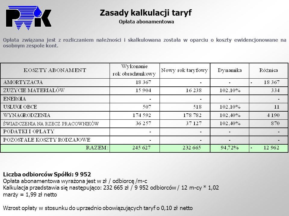 Zasady kalkulacji taryf Opłata abonamentowa Opłata związana jest z rozliczaniem należności i skalkulowana została w oparciu o koszty ewidencjonowane n