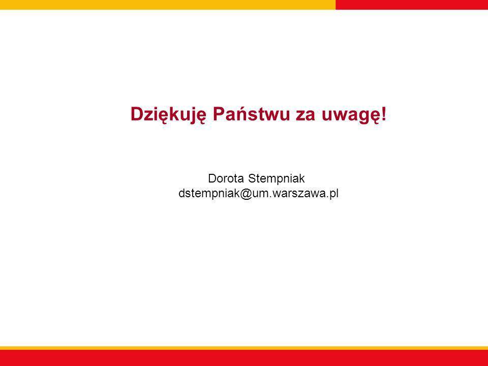 Dziękuję Państwu za uwagę! Dorota Stempniak dstempniak@um.warszawa.pl