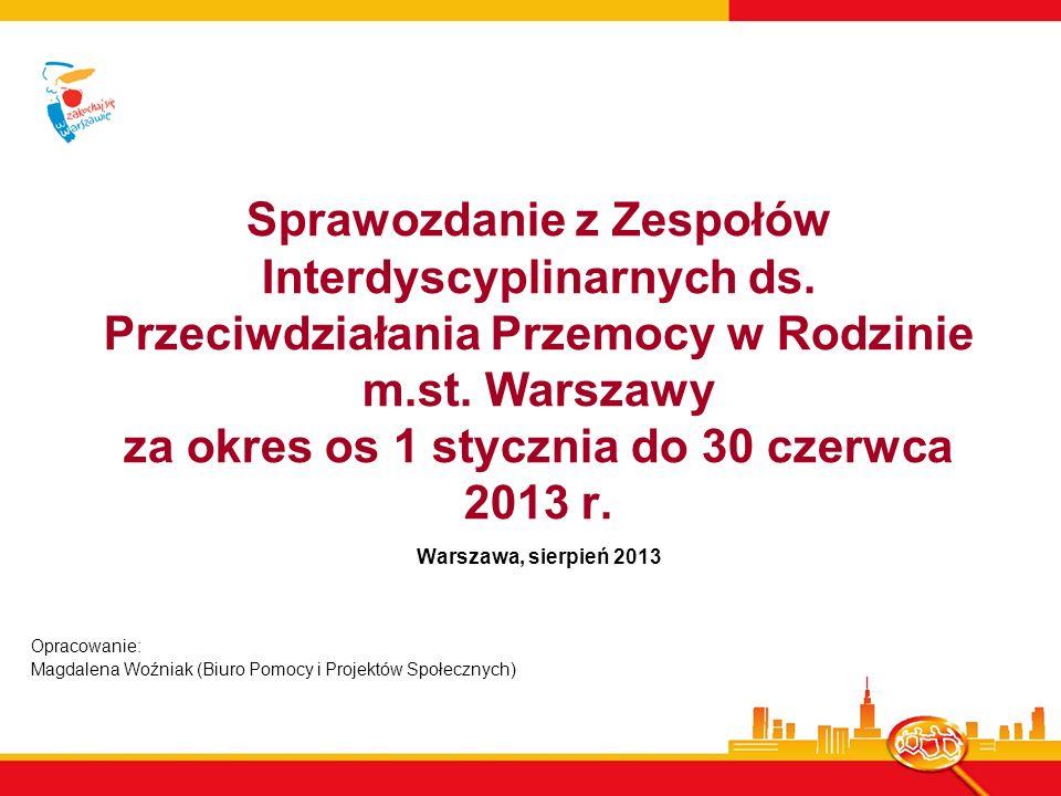 Sprawozdanie z Zespołów Interdyscyplinarnych ds. Przeciwdziałania Przemocy w Rodzinie m.st. Warszawy za okres os 1 stycznia do 30 czerwca 2013 r. Wars