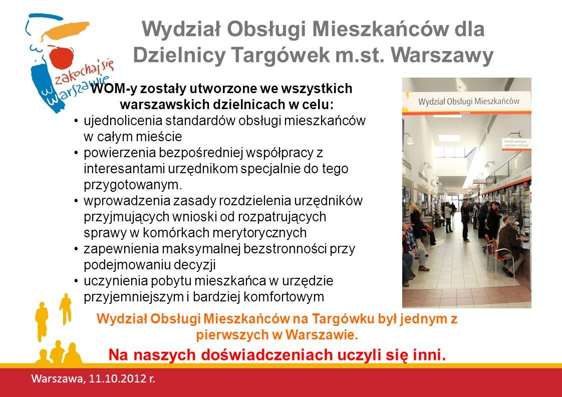 Warszawa, 11.10.2012 r.Wydział Obsługi Mieszkańców dla Dzielnicy Targówek m.st.