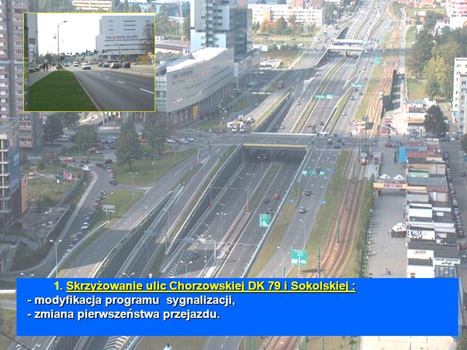.Skrzyżowanie ulic Chorzowskiej DK 79 i Sokolskiej : - modyfikacja programu sygnalizacji, - zmiana pierwszeństwa przejazdu.