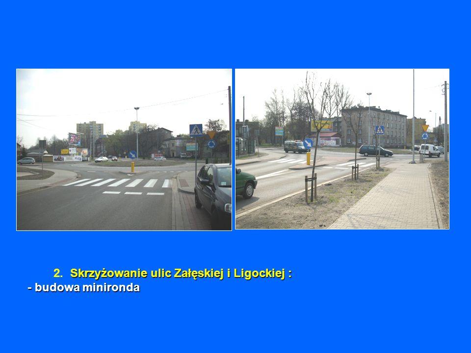 Skrzyżowanie ulic Załęskiej i Ligockiej : - budowa minironda 2. Skrzyżowanie ulic Załęskiej i Ligockiej : - budowa minironda