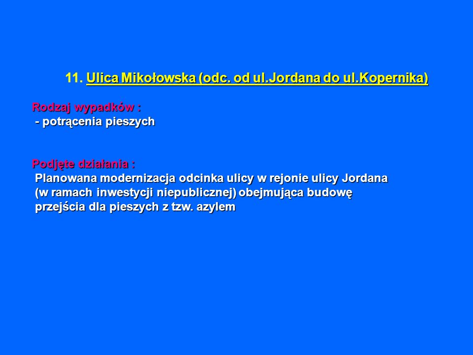 Ulica Mikołowska (odc. od ul.Jordana do ul.Kopernika) Rodzaj wypadków : - potrącenia pieszych Podjęte działania : Planowana modernizacja odcinka ulicy