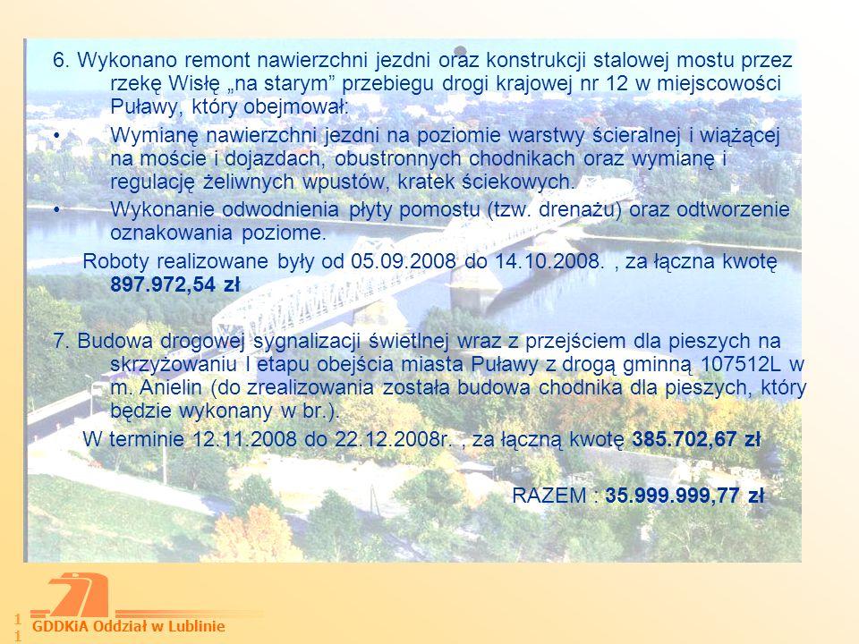 GDDKiA Oddział w Lublinie 12 Wykonanie analizy porealizacyjnej dla obejścia m.