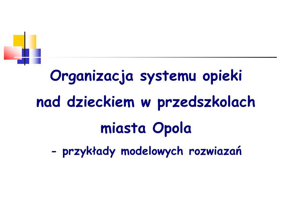 Organizacja systemu opieki nad dzieckiem w przedszkolach miasta Opola - przykłady modelowych rozwiazań