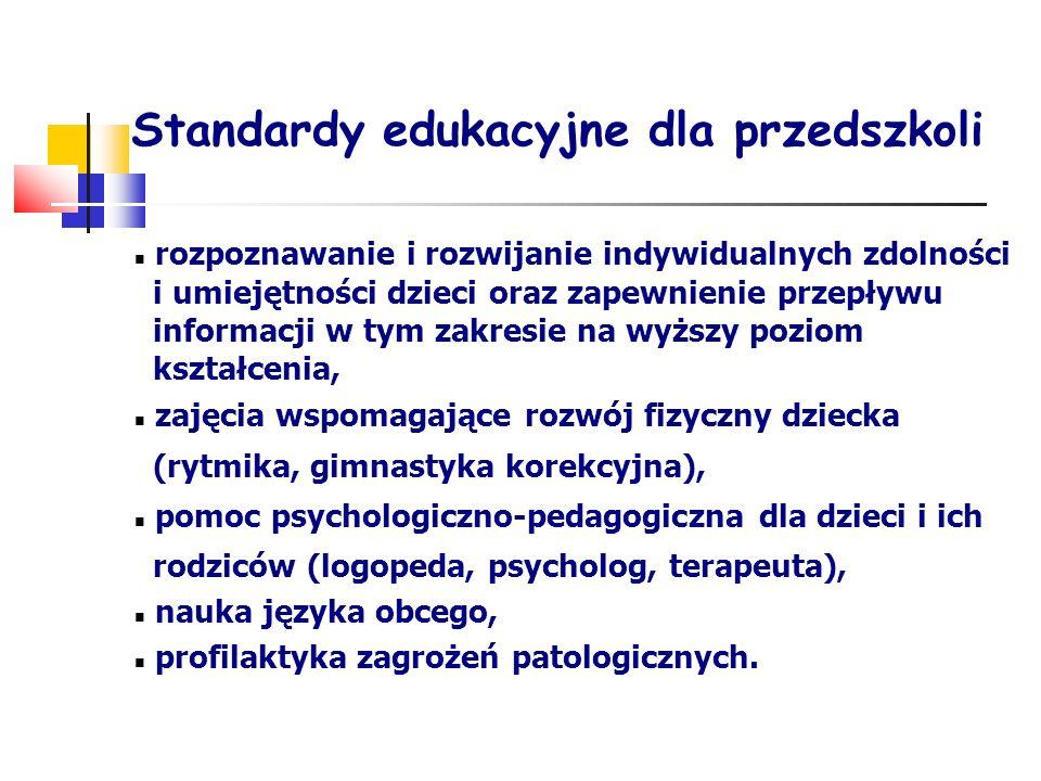 Standardy edukacyjne dla przedszkoli rozpoznawanie i rozwijanie indywidualnych zdolności i umiejętności dzieci oraz zapewnienie przepływu informacji w