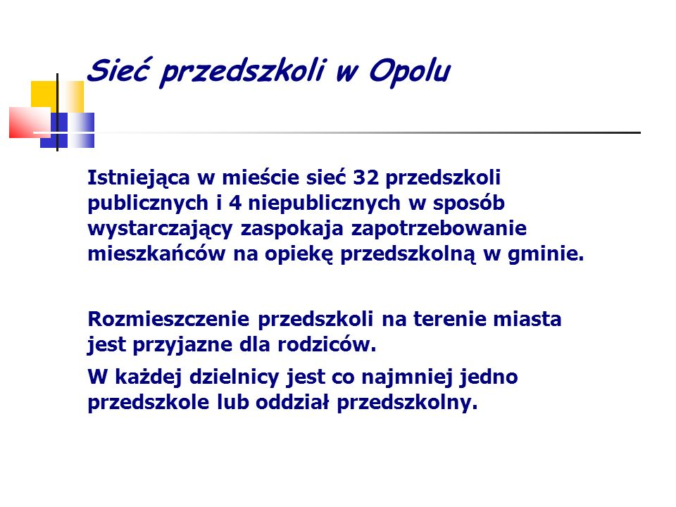 Sieć przedszkoli w Opolu Istniejąca w mieście sieć 32 przedszkoli publicznych i 4 niepublicznych w sposób wystarczający zaspokaja zapotrzebowanie mies