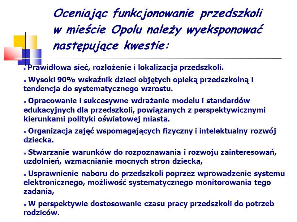 Oceniając funkcjonowanie przedszkoli w mieście Opolu należy wyeksponować następujące kwestie: Prawidłowa sieć, rozłożenie i lokalizacja przedszkoli. W