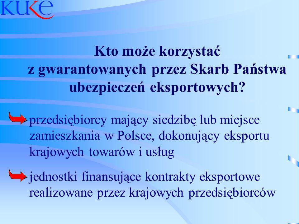 Kto może korzystać z gwarantowanych przez Skarb Państwa ubezpieczeń eksportowych? przedsiębiorcy mający siedzibę lub miejsce zamieszkania w Polsce, do