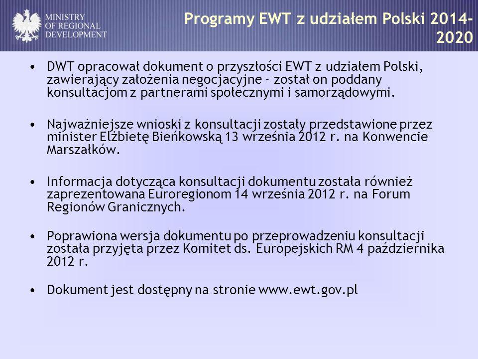 Programy EWT z udziałem Polski 2014- 2020 DWT opracował dokument o przyszłości EWT z udziałem Polski, zawierający założenia negocjacyjne - został on p