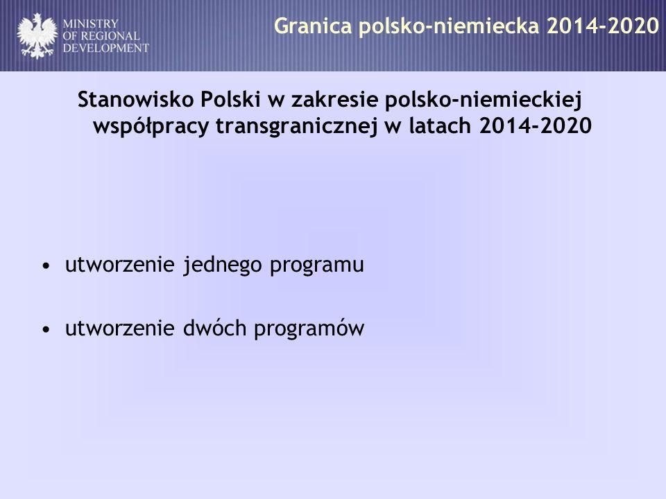 Granica polsko-niemiecka 2014-2020 Stanowisko Polski w zakresie polsko-niemieckiej współpracy transgranicznej w latach 2014-2020 utworzenie jednego pr