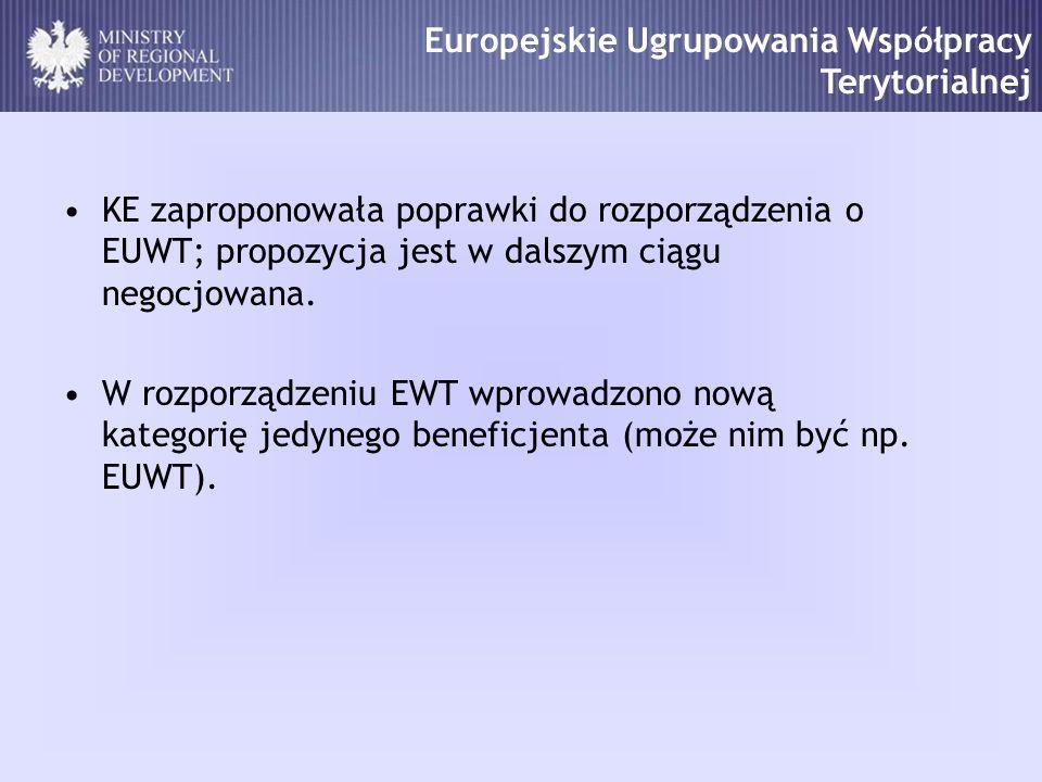 Europejskie Ugrupowania Współpracy Terytorialnej KE zaproponowała poprawki do rozporządzenia o EUWT; propozycja jest w dalszym ciągu negocjowana. W ro