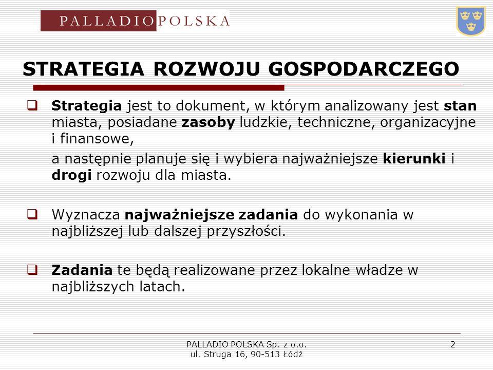 PALLADIO POLSKA Sp. z o.o. ul. Struga 16, 90-513 Łódź 2 STRATEGIA ROZWOJU GOSPODARCZEGO Strategia jest to dokument, w którym analizowany jest stan mia