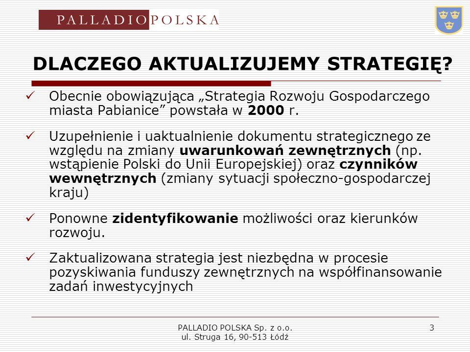 PALLADIO POLSKA Sp. z o.o. ul. Struga 16, 90-513 Łódź 3 DLACZEGO AKTUALIZUJEMY STRATEGIĘ? Obecnie obowiązująca Strategia Rozwoju Gospodarczego miasta