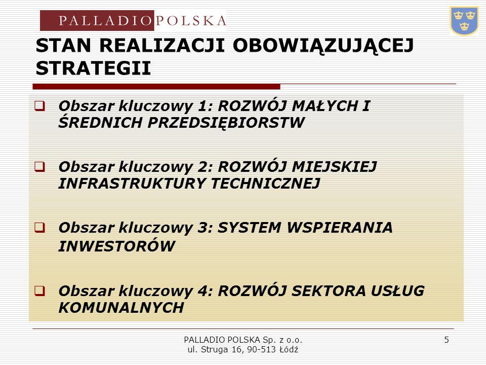 PALLADIO POLSKA Sp. z o.o. ul. Struga 16, 90-513 Łódź 5 STAN REALIZACJI OBOWIĄZUJĄCEJ STRATEGII Obszar kluczowy 1: ROZWÓJ MAŁYCH I ŚREDNICH PRZEDSIĘBI
