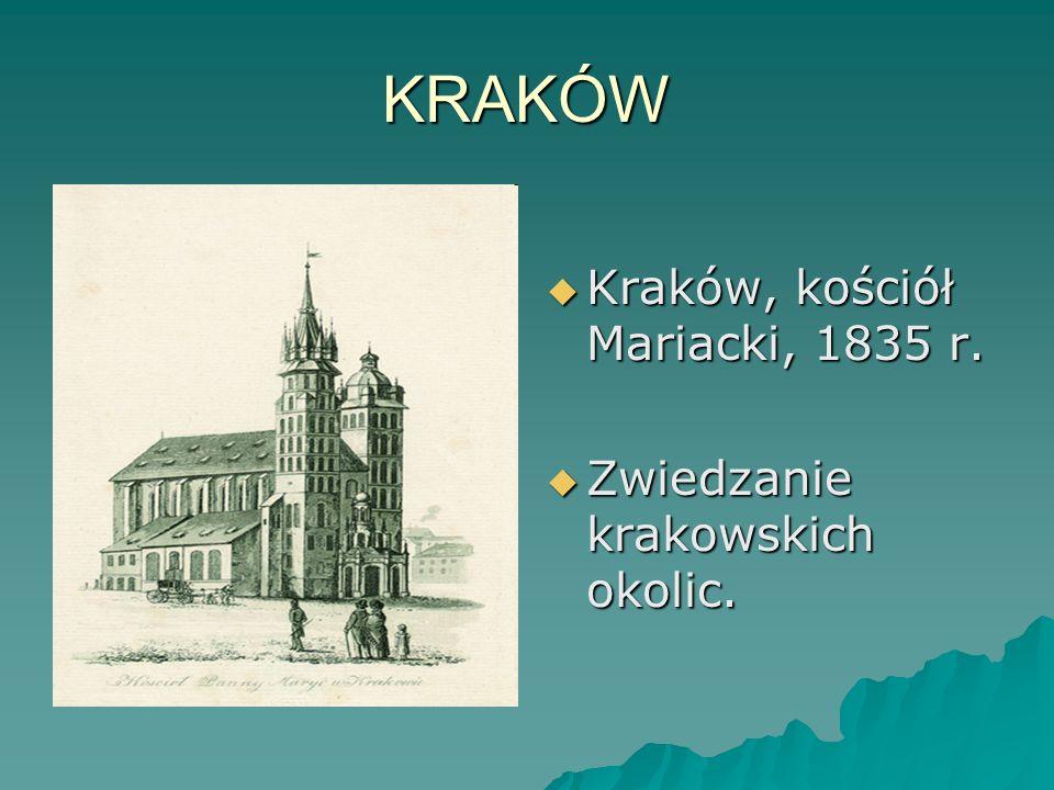 KRAKÓW Kraków, kościół Mariacki, 1835 r. Kraków, kościół Mariacki, 1835 r. Zwiedzanie krakowskich okolic. Zwiedzanie krakowskich okolic.