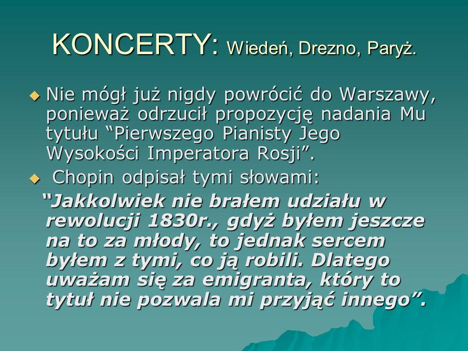 KONCERTY: Wiedeń, Drezno, Paryż. Nie mógł już nigdy powrócić do Warszawy, ponieważ odrzucił propozycję nadania Mu tytułu Pierwszego Pianisty Jego Wyso
