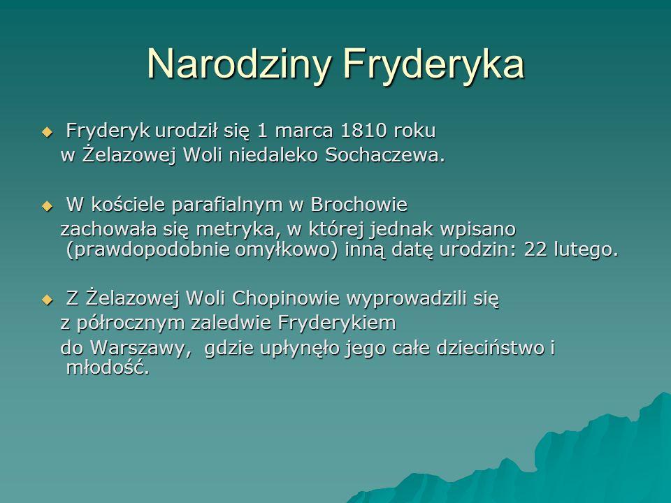 Narodziny Fryderyka Fryderyk urodził się 1 marca 1810 roku Fryderyk urodził się 1 marca 1810 roku w Żelazowej Woli niedaleko Sochaczewa. w Żelazowej W