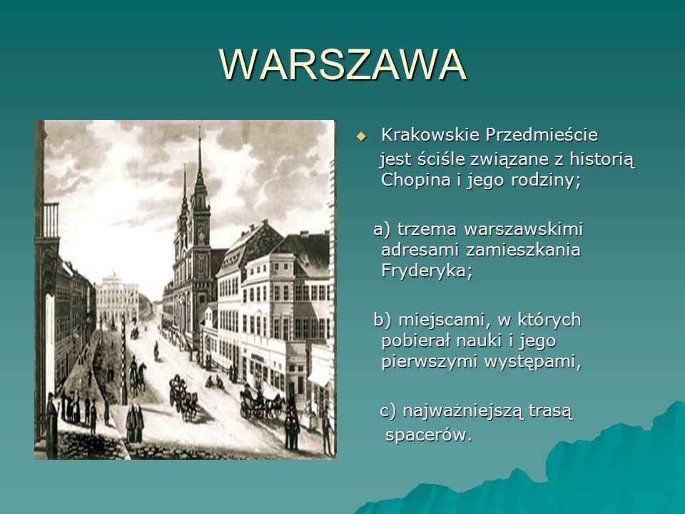WARSZAWA Krakowskie Przedmieście Krakowskie Przedmieście jest ściśle związane z historią Chopina i jego rodziny; jest ściśle związane z historią Chopi