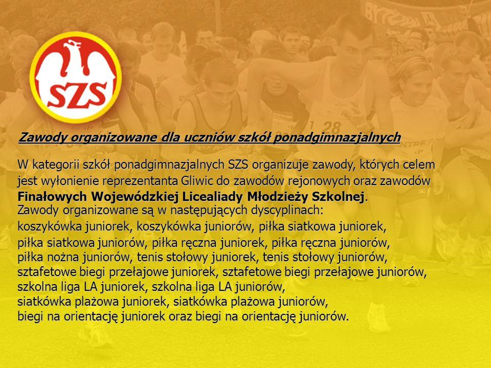 W kategorii szkół ponadgimnazjalnych SZS organizuje zawody, których celem jest wyłonienie reprezentanta Gliwic do zawodów rejonowych oraz zawodów Fina