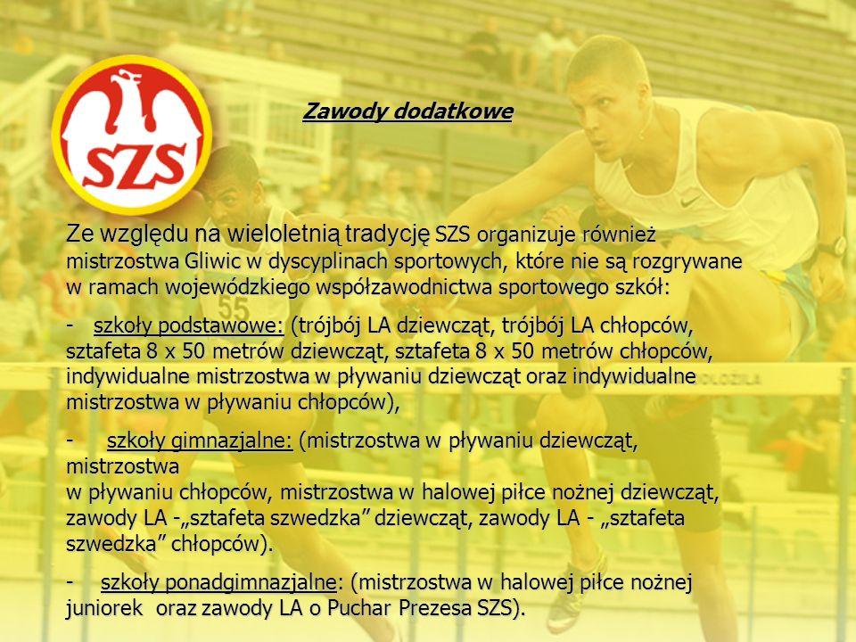 Ze względu na wieloletnią tradycję SZS organizuje również mistrzostwa Gliwic w dyscyplinach sportowych, które nie są rozgrywane w ramach wojewódzkiego