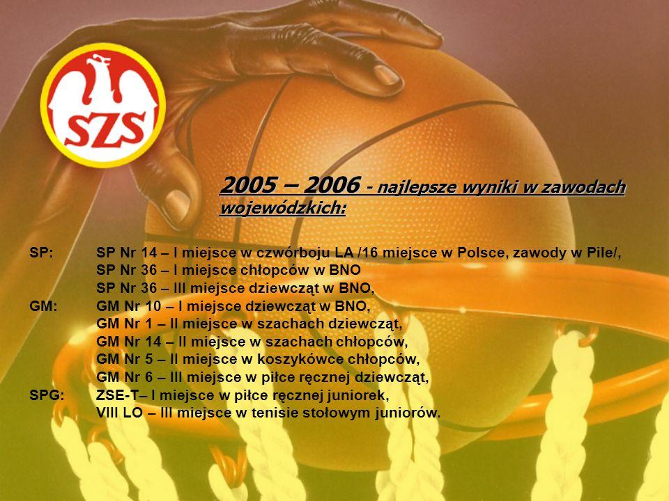 2005 – 2006 - najlepsze wyniki w zawodach wojewódzkich: SP: SP Nr 14 – I miejsce w czwórboju LA /16 miejsce w Polsce, zawody w Pile/, SP Nr 36 – I mie