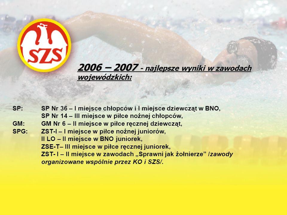 2006 – 2007 - najlepsze wyniki w zawodach wojewódzkich: SP: SP Nr 36 – I miejsce chłopców i I miejsce dziewcząt w BNO, SP Nr 14 – III miejsce w piłce