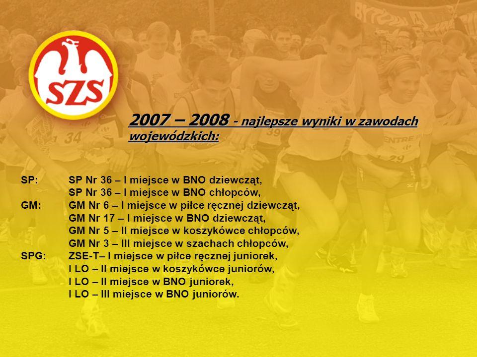 2007 – 2008 - najlepsze wyniki w zawodach wojewódzkich: SP: SP Nr 36 – I miejsce w BNO dziewcząt, SP Nr 36 – I miejsce w BNO chłopców, GM:GM Nr 6 – I
