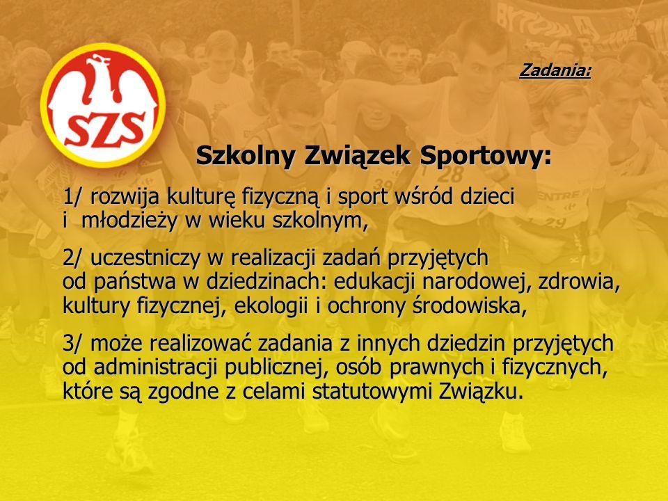 Zadania: Szkolny Związek Sportowy: 1/ rozwija kulturę fizyczną i sport wśród dzieci i młodzieży w wieku szkolnym, 2/ uczestniczy w realizacji zadań pr