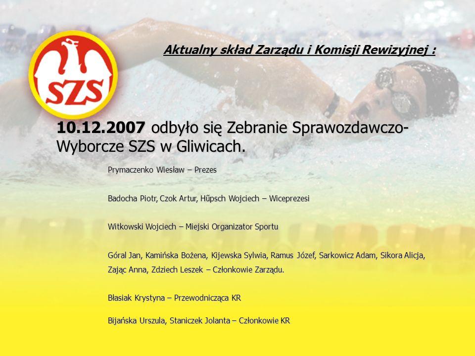 10.12.2007 odbyło się Zebranie Sprawozdawczo- Wyborcze SZS w Gliwicach. Prymaczenko Wiesław – Prezes Badocha Piotr, Czok Artur, Hűpsch Wojciech – Wice