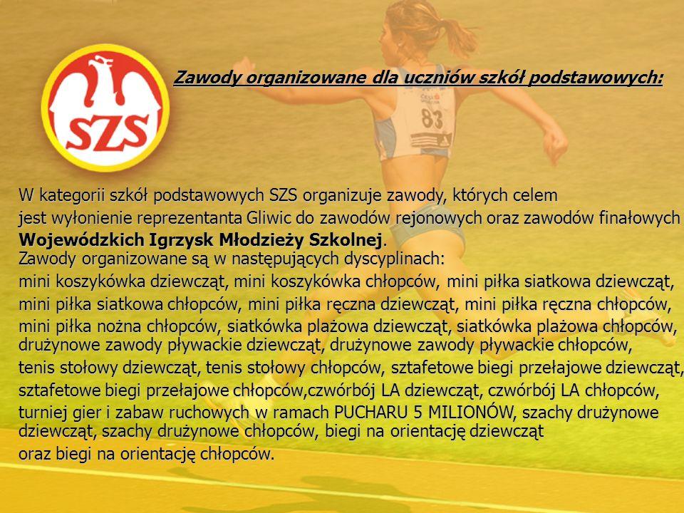 Zawody organizowane dla uczniów szkół gimnazjalnych W kategorii szkół gimnazjalnych SZS organizuje zawody, których celem jest wyłonienie reprezentanta Gliwic do zawodów rejonowych oraz zawodów finałowych Wojewódzkiej Gimnazjady Młodzieży Szkolnej.