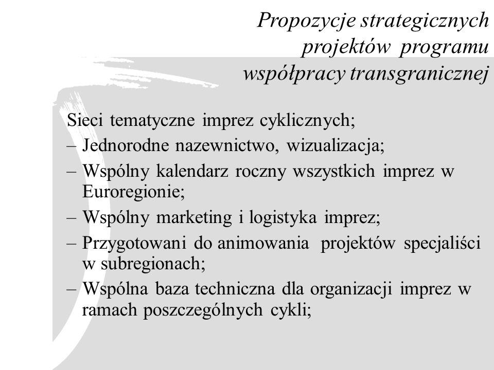 Propozycje strategicznych projektów programu współpracy transgranicznej Sieci tematyczne imprez cyklicznych; –Jednorodne nazewnictwo, wizualizacja; –W