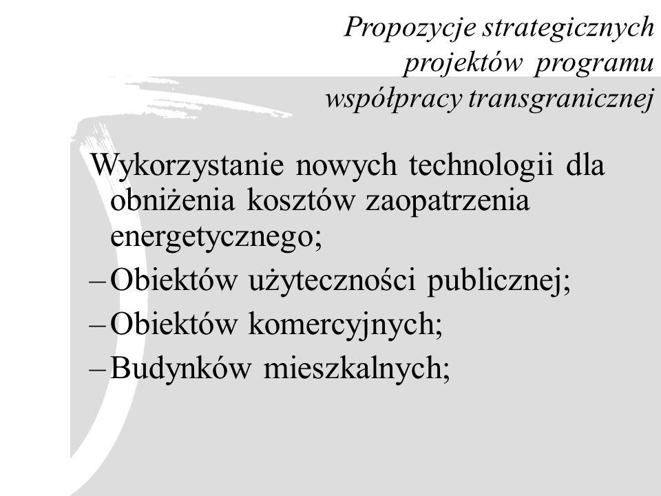 Propozycje strategicznych projektów programu współpracy transgranicznej Wykorzystanie nowych technologii dla obniżenia kosztów zaopatrzenia energetycz