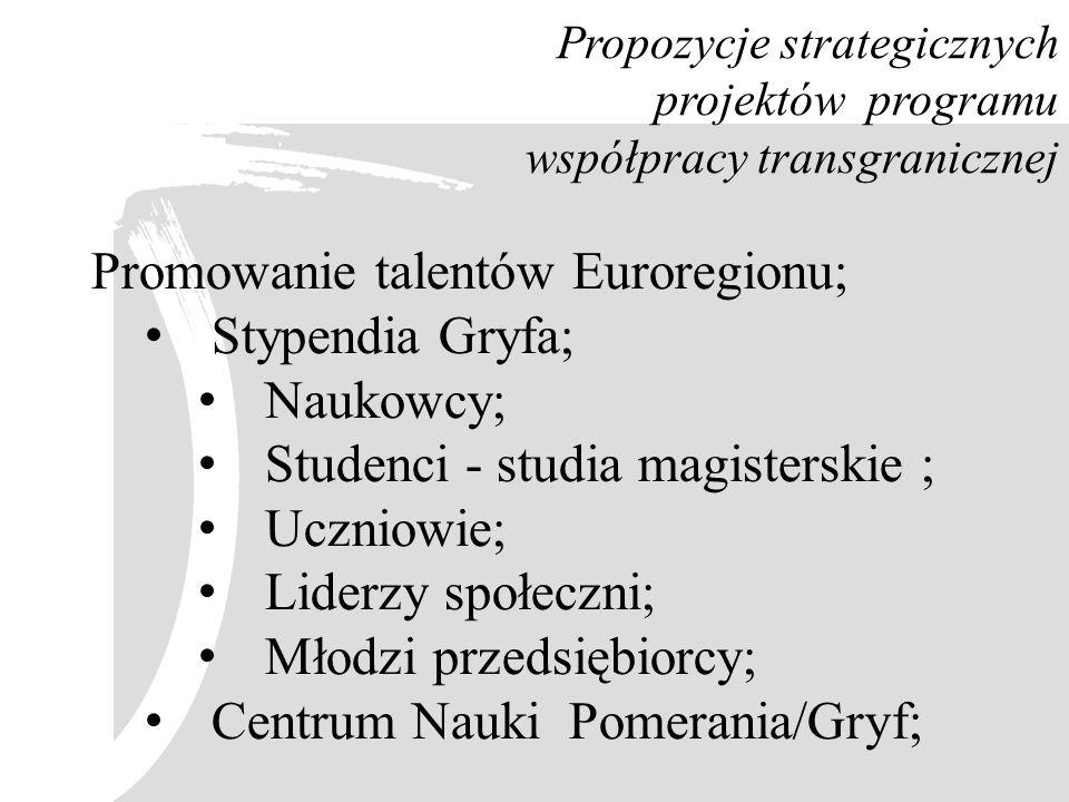 Propozycje strategicznych projektów programu współpracy transgranicznej Promowanie talentów Euroregionu; Stypendia Gryfa; Naukowcy; Studenci - studia