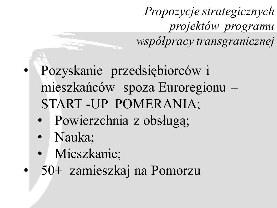Propozycje strategicznych projektów programu współpracy transgranicznej Pozyskanie przedsiębiorców i mieszkańców spoza Euroregionu – START -UP POMERAN