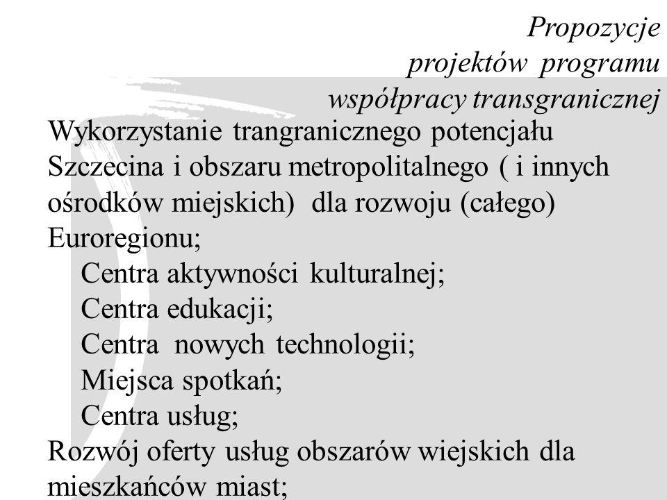 Propozycje projektów programu współpracy transgranicznej Wykorzystanie trangranicznego potencjału Szczecina i obszaru metropolitalnego ( i innych ośro