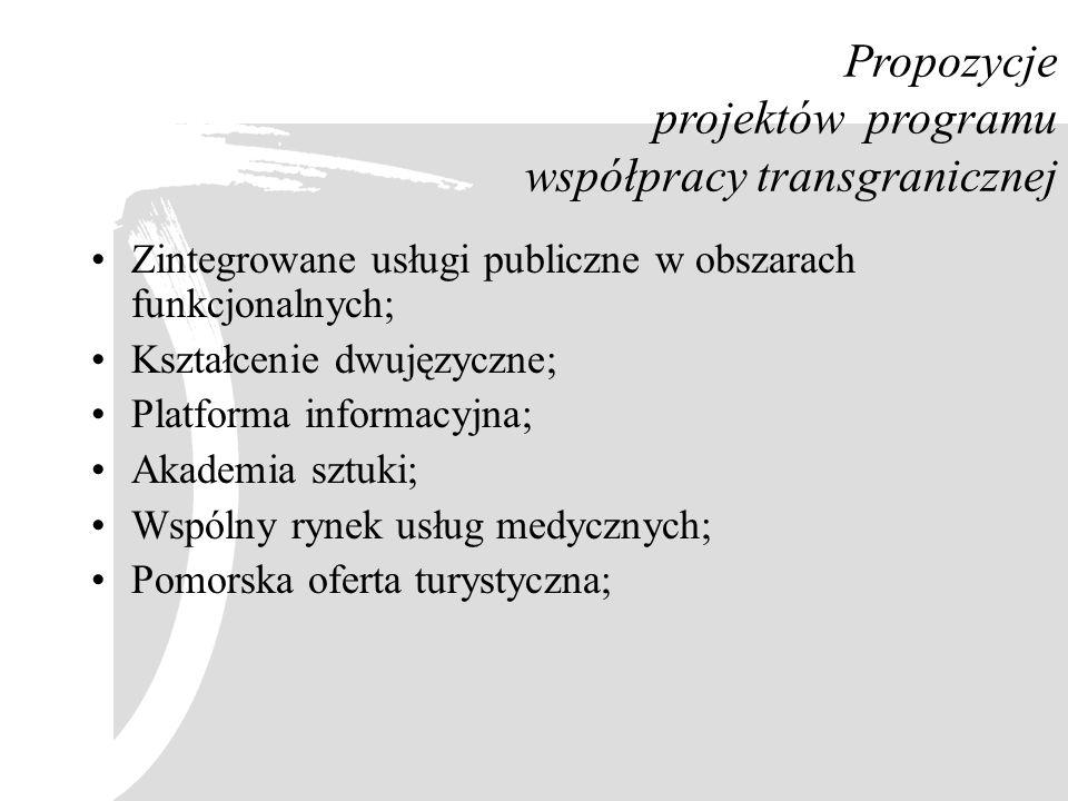 Zintegrowane usługi publiczne w obszarach funkcjonalnych; Kształcenie dwujęzyczne; Platforma informacyjna; Akademia sztuki; Wspólny rynek usług medycz