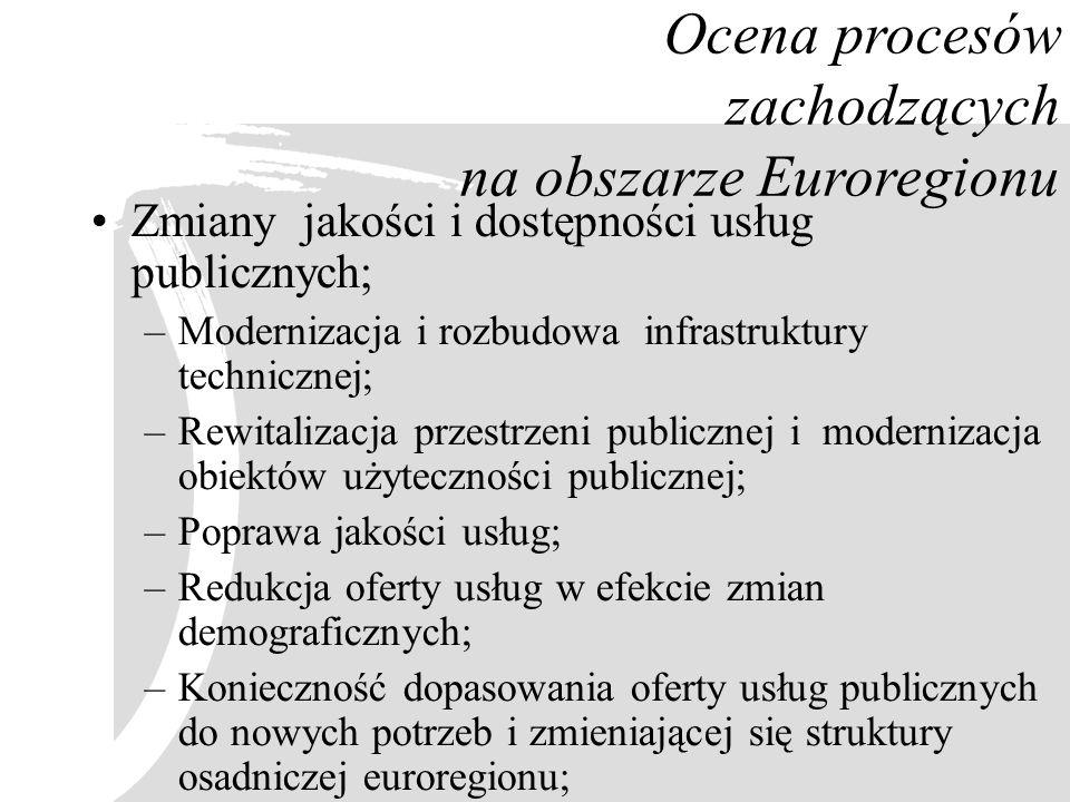 Ocena procesów zachodzących na obszarze Euroregionu Zmiany jakości i dostępności usług publicznych; –Modernizacja i rozbudowa infrastruktury techniczn