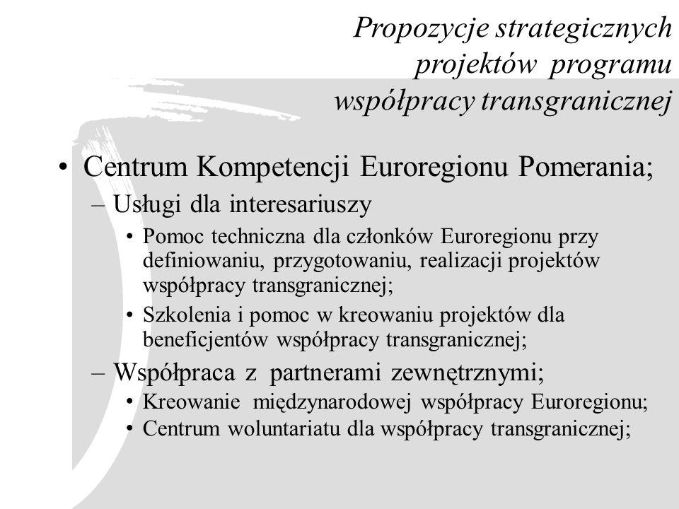 Propozycje strategicznych projektów programu współpracy transgranicznej Centrum Kompetencji Euroregionu Pomerania; –Usługi dla interesariuszy Pomoc te