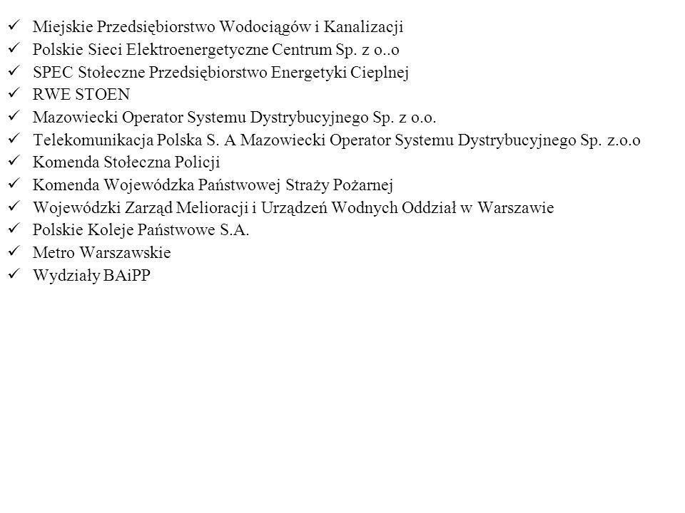 Miejskie Przedsiębiorstwo Wodociągów i Kanalizacji Polskie Sieci Elektroenergetyczne Centrum Sp. z o..o SPEC Stołeczne Przedsiębiorstwo Energetyki Cie