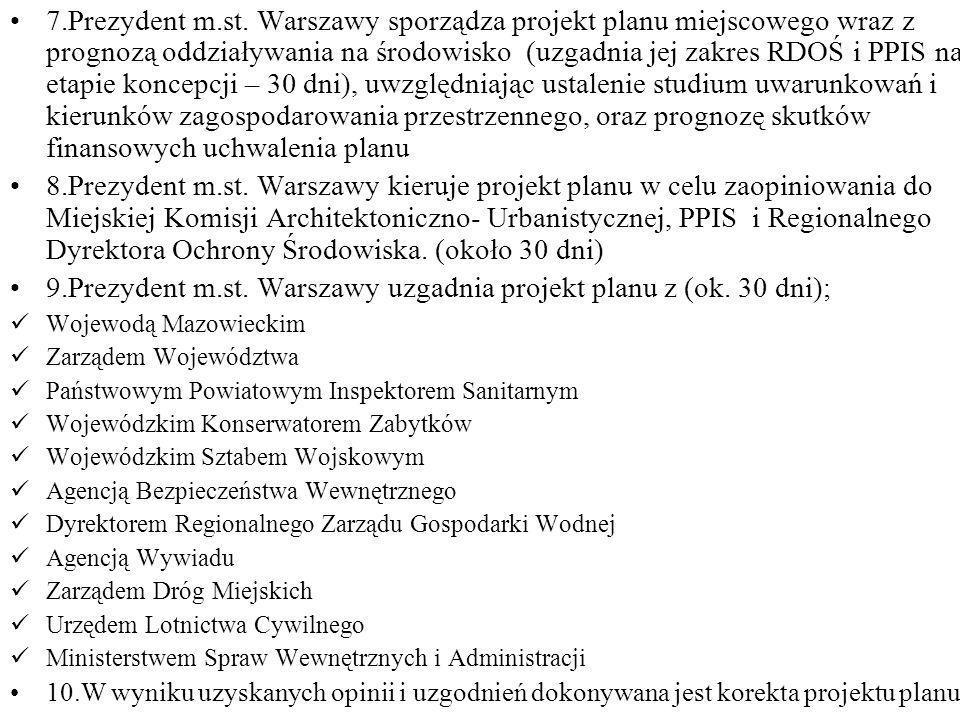 7.Prezydent m.st. Warszawy sporządza projekt planu miejscowego wraz z prognozą oddziaływania na środowisko (uzgadnia jej zakres RDOŚ i PPIS na etapie