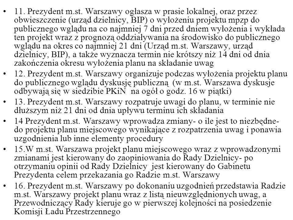 11. Prezydent m.st. Warszawy ogłasza w prasie lokalnej, oraz przez obwieszczenie (urząd dzielnicy, BIP) o wyłożeniu projektu mpzp do publicznego wgląd