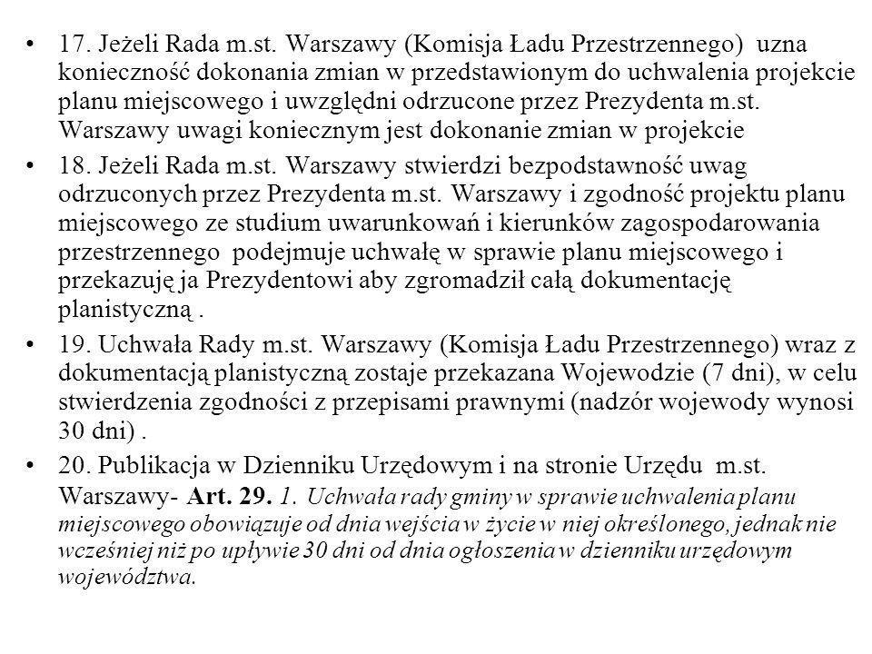 17. Jeżeli Rada m.st. Warszawy (Komisja Ładu Przestrzennego) uzna konieczność dokonania zmian w przedstawionym do uchwalenia projekcie planu miejscowe