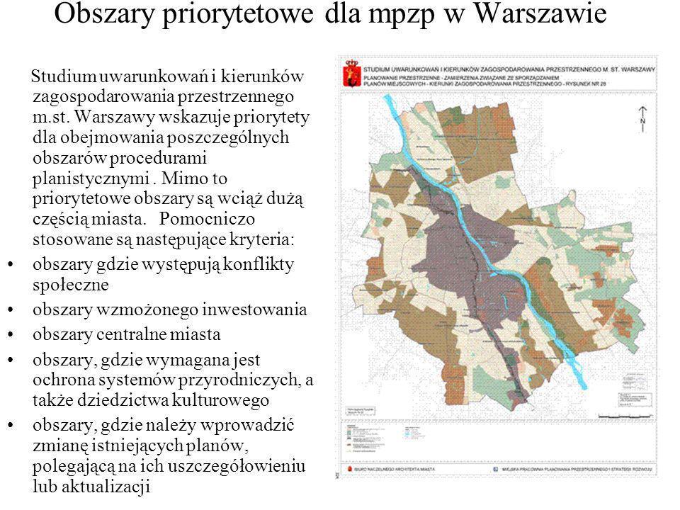 Obszary priorytetowe dla mpzp w Warszawie Studium uwarunkowań i kierunków zagospodarowania przestrzennego m.st. Warszawy wskazuje priorytety dla obejm