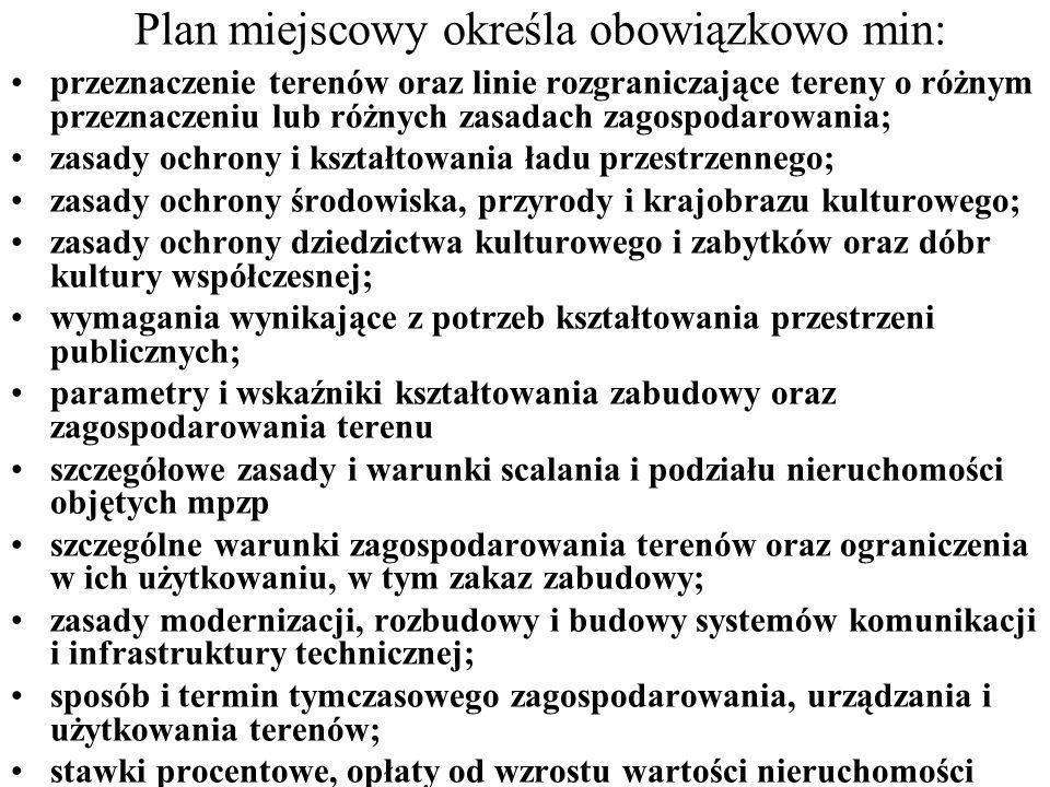 Plan miejscowy określa obowiązkowo min: przeznaczenie terenów oraz linie rozgraniczające tereny o różnym przeznaczeniu lub różnych zasadach zagospodar