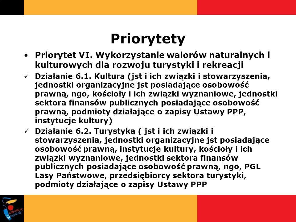 Priorytety Priorytet VI. Wykorzystanie walorów naturalnych i kulturowych dla rozwoju turystyki i rekreacji Działanie 6.1. Kultura (jst i ich związki i